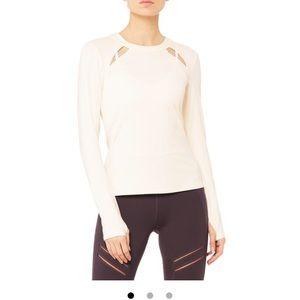 NWT Alo Yoga medium mantra long sleeve cream top